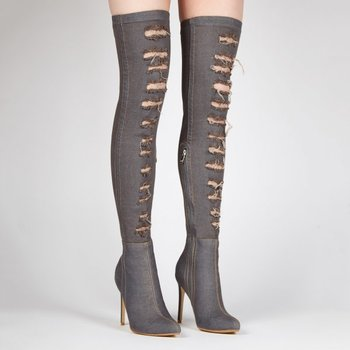 23373877c09 Chengdu Shoes Custom made Sexy Girl Grey Ripped Denim Pointed Toe stiletto  Over the knee Boots