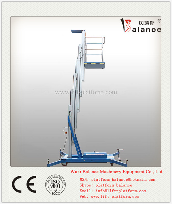 single mast 8m lifting height/vertical aluminium lift platform/portable lift