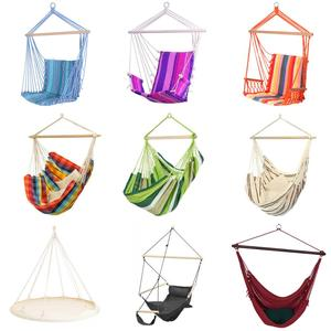 Hanging polyester cotton rope seat hammock swing hammock chair with cushion and wood