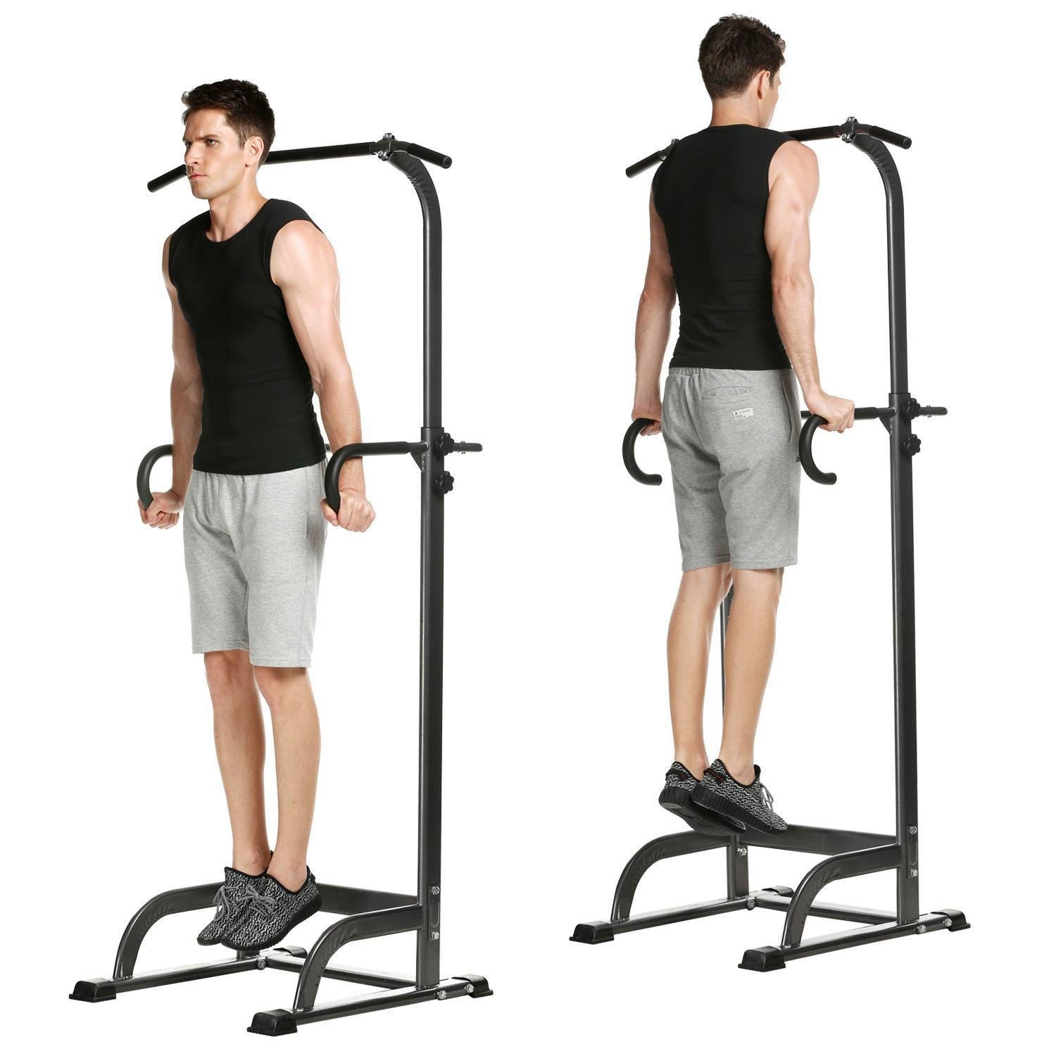 Adjustable Power Tower Dip Station, Multi-Function Pull Up, Chin Up, Push Up, Pull Up Stand for Home Gym Office (US Stock)
