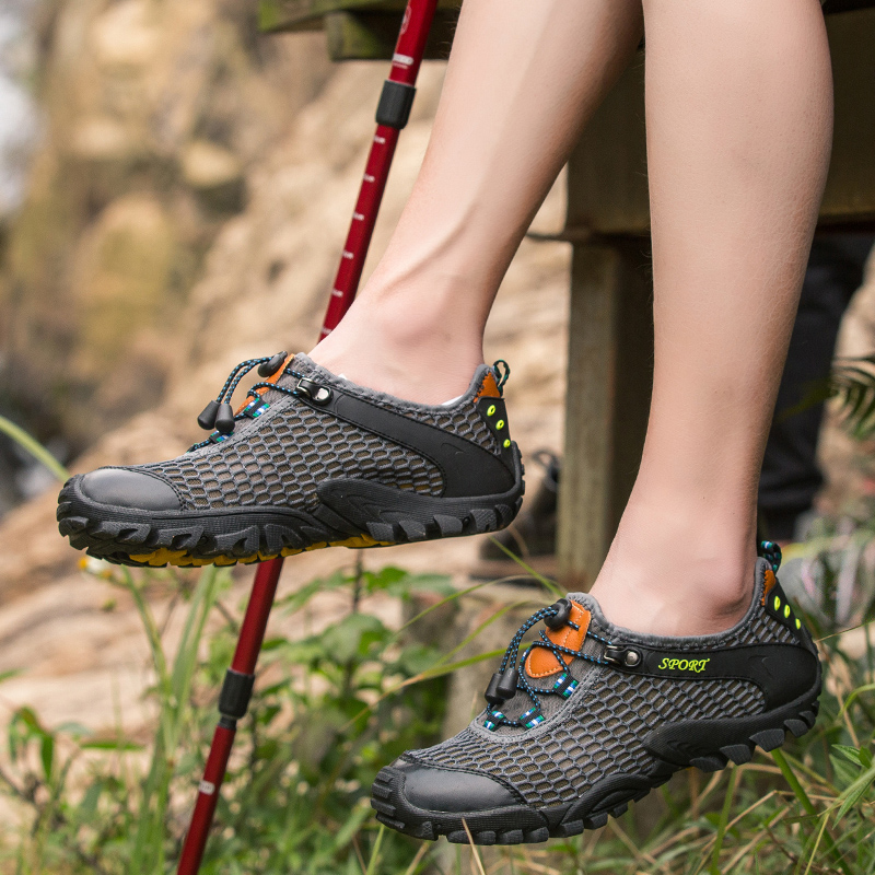 men's casual yards hiking mesh bottom blue travel SDIiLAN breathable outdoor soft shoes gray 39 cfqwWF7