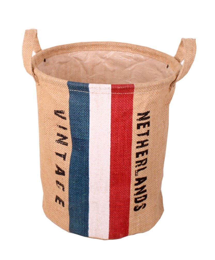 GreenForest Collapsible Laundry Storage bucket Retro Vintage Jute Linen Burlap Round Storage with Netherlands Flag Design