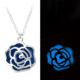 New Design Customized Fashion Women Bule Rose Glow In The Dark Necklace