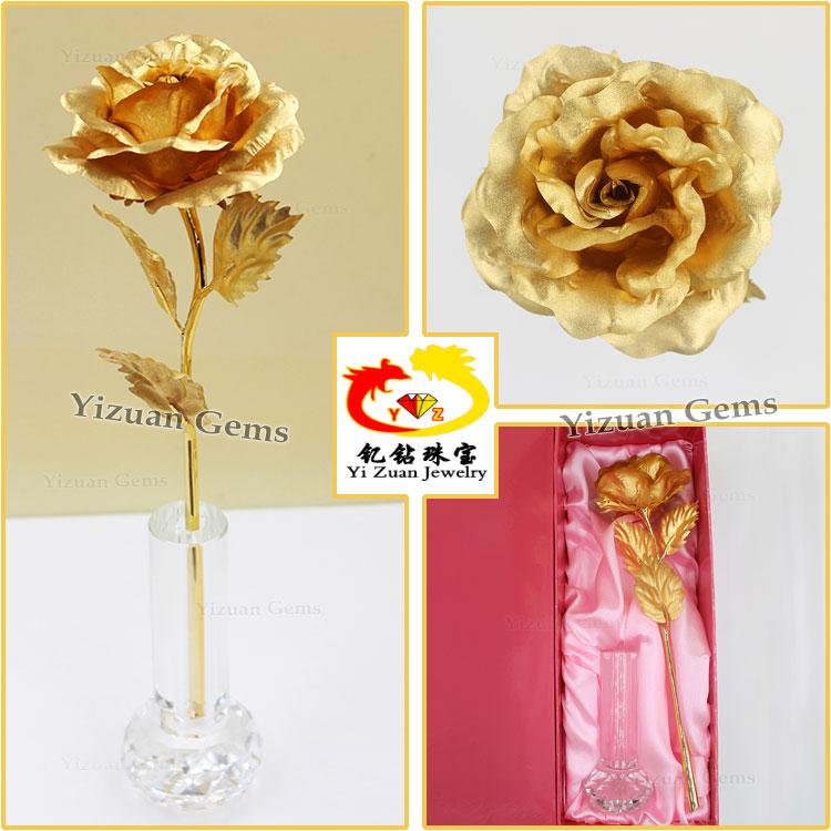 Decorative 24k Gold Foil Rose Flower Arts Craft Models Made Of ...