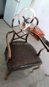 PU and golden stainless steel metal home chair furniture
