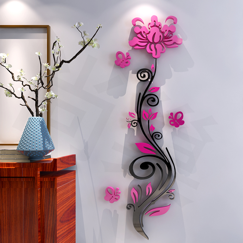 Free shipping roses 3d stereo acrylic wall stickers bedroom living room entrance backdrop warm creative home decorations XXL
