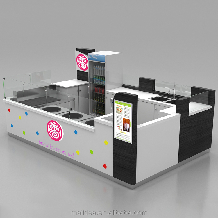 5*3 m Fresh ice cream kiosk retail store interior design for roll ice cream furniture for sale