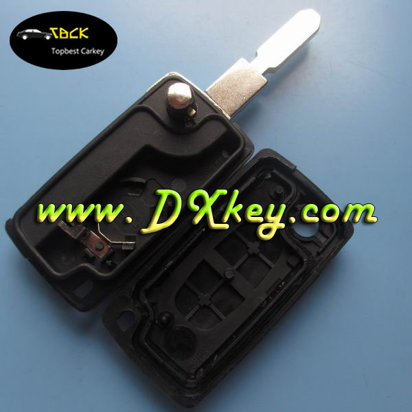 Best Price 2 button car key shell with 406 blade and battery clamp for citroen key CE0536 citroen 2 button remote key shell
