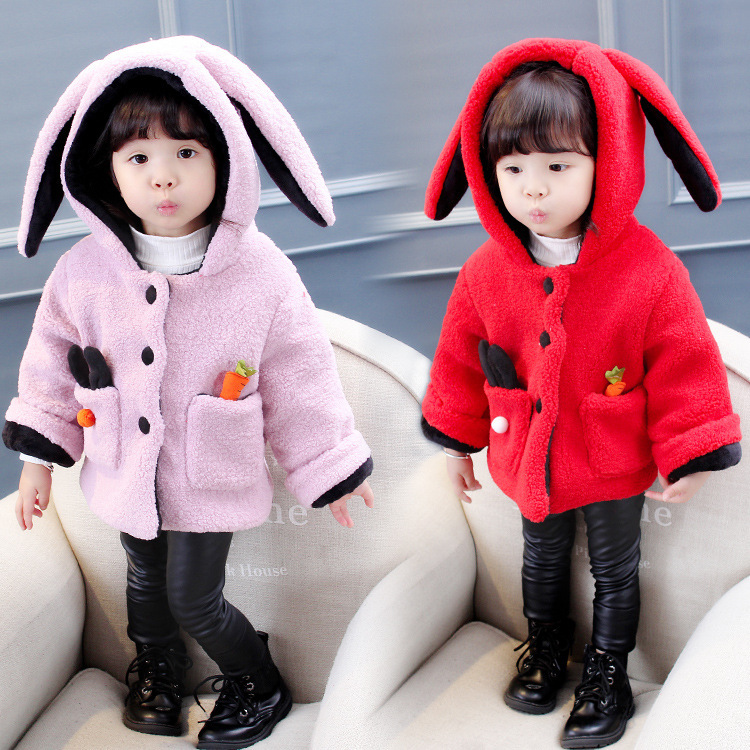 FS0660A 2018 winter cute girls rabbit style coats fancy baby clothes