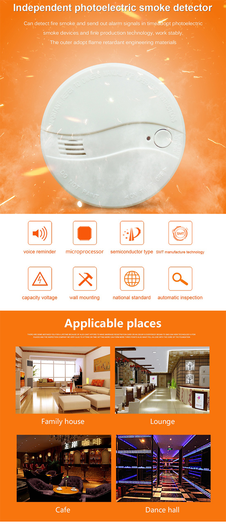 Ce Approved High Quality Independent Fire Alarm Products Smoke