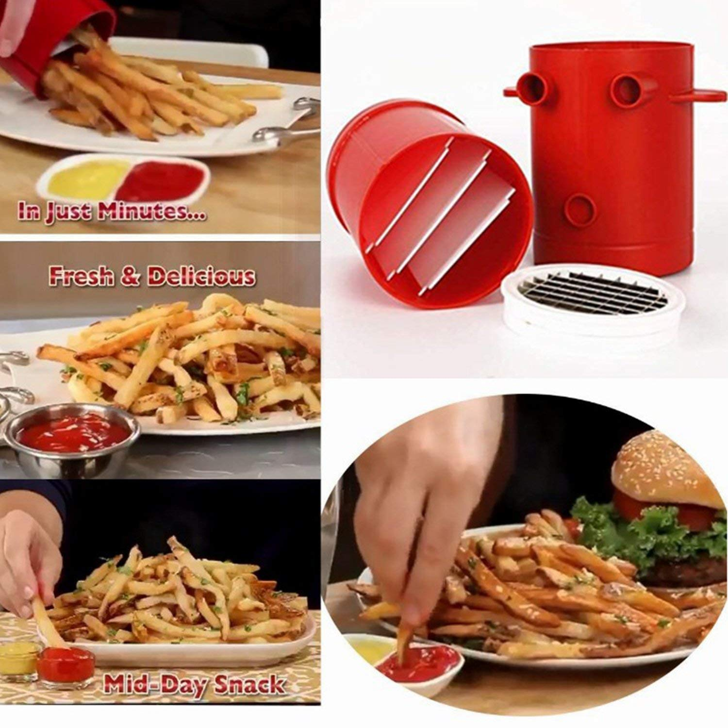Potatoes Fries Maker, Potato Slicers French Fries Maker, Jiffy Fries Maker Potato Chipper & Microwave Container 2-in-1, No Deep-Fry To Make Healthy Fries (Red)