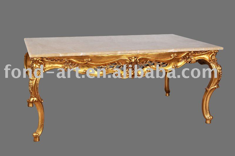 C87 Antique Marble Top Resin Frame Tea Table