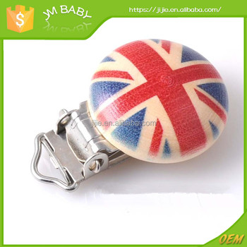Cartoon national flag printed metal pacifier clip wood clasp