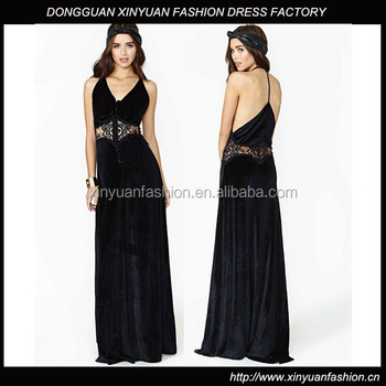 Ladies Black Velvet Evening Dressvelvet Embroidered Dressfloor