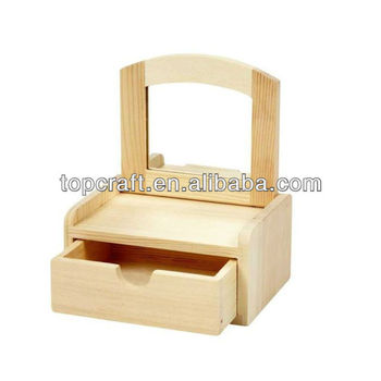 12cm Wooden Craft Jewellery Storage Box Tilt Mirror Decorate Paint