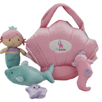 Customized Mermaid Plush Stuffed Toy 5 Piece Sea Animal Life Plush Doll Tote Bag Gift Set For Kids