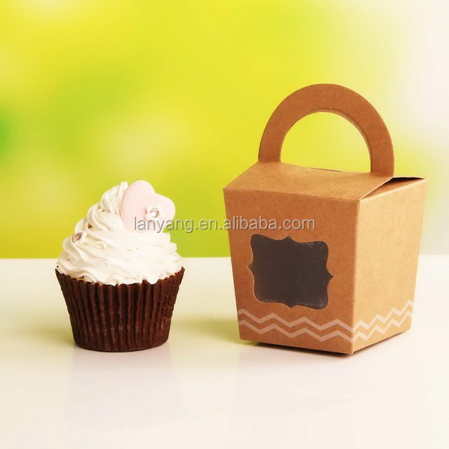 Wedding Favor Boxes Kraft Cupcake Favor Boxes With Clear Window ...