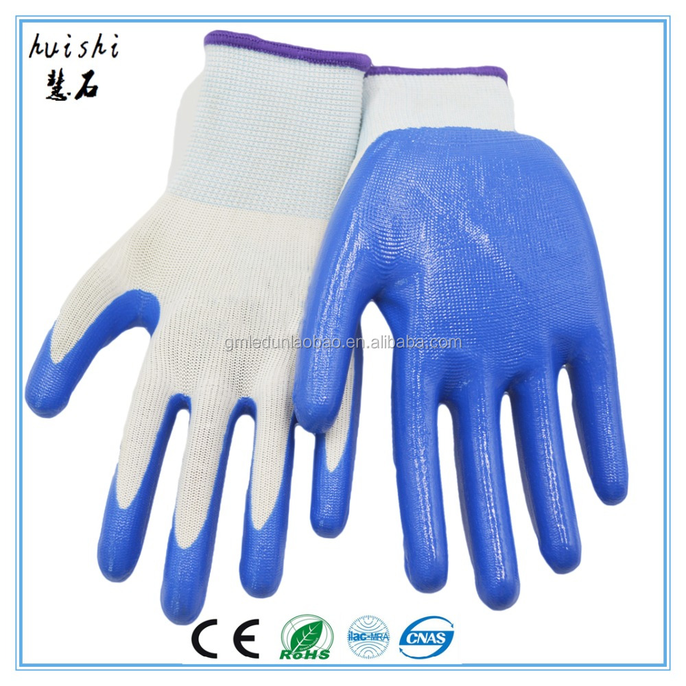 Anti-acid paint safety gloves nitrile coated palm nylon work gloves