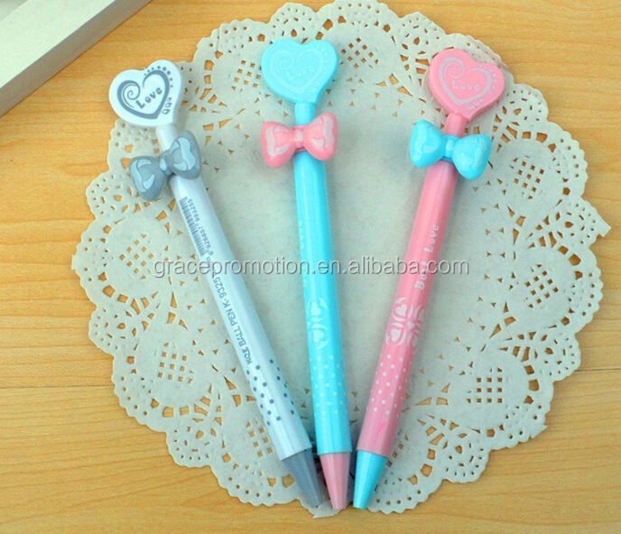 2014 Cute cartoon plastic ball <strong>pen</strong> with heart for gift