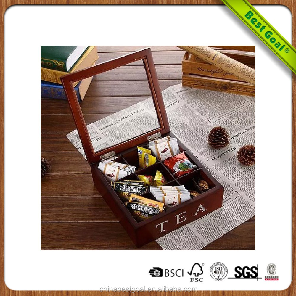 Brown wooden tea box with glass top