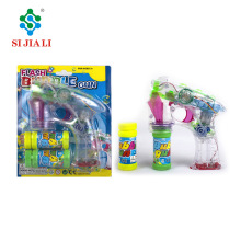 Low price BO small transparent bubble soap maker bubble gun with LED lights and music for sale