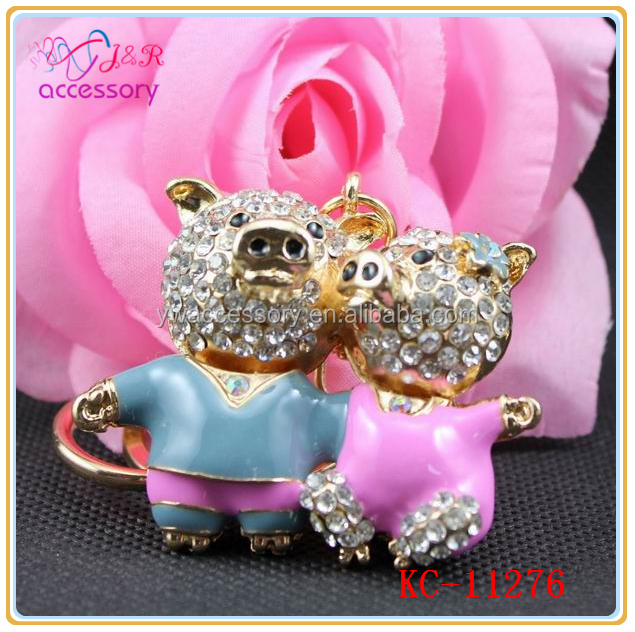 Fashion Valentine S Day Keychain Pig Shaped Rhinestone Jewelry
