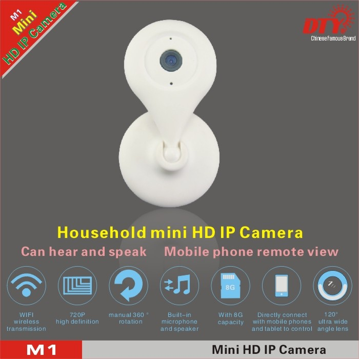 360 degree rotation & 120 degree wide angle lens super mini ip camera for home,built-in 8G TF card HD 720p wifi ip camera,M1