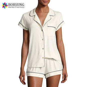 440a5fa4e25 Hot Selling Revere Collar Night Sleepwear Plain White Short Sleeve Cotton Women  Pajamas Sets