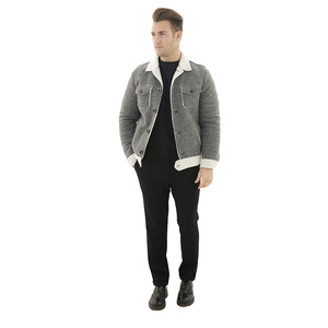 European Style New Arrival Men Fashion Gray Jacket with Artificial Fur Lining