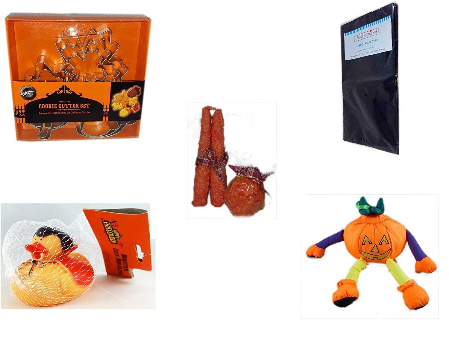 Halloween Fun Gift Bundle [5 piece] - Wilton Autumn 8-Piece Cookie Cutter Set - Black Plastic Table Cover Halloween - Autumn Orange-spice Candles Set of 3 - Happy Halloween Monster Duck Novelty -Vam