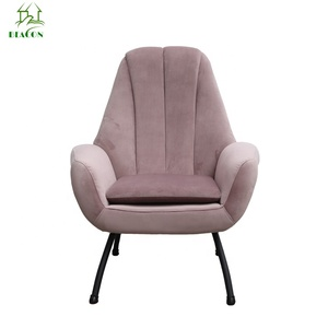 Hotel living room High back back armrest velvet chair