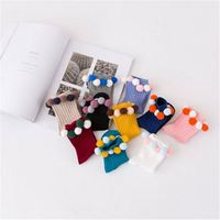 Best prices solid color fuzzy ball girl cute style sweat absorbent cotton pom pom socks