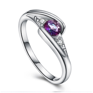 AP20172 Trendy Design Hot Sale Colorful CZ Silver Rings AAA Zircon Wedding Rings for Women