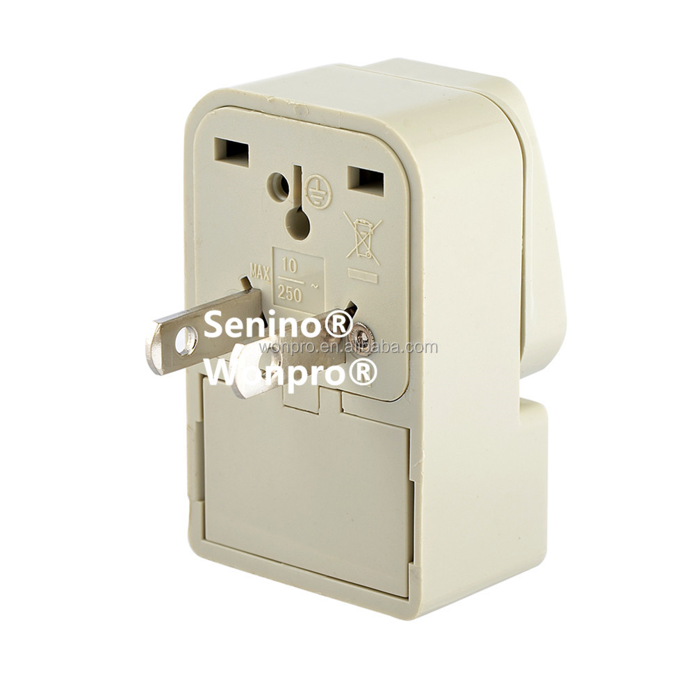 Classical Wonpro Non-Grounded Universal Travel Adapter w Dual Socket Type A for US North and Central America Japan