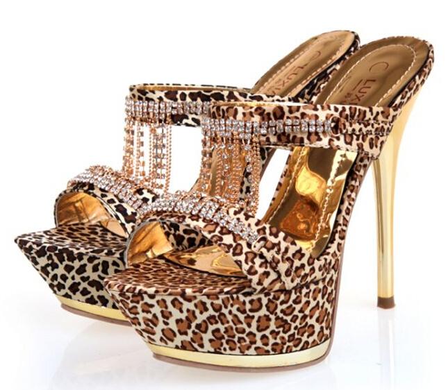 636e893e6715 Get Quotations · European Sexy Leopard Print Rhinestone Tassel Women Party  Sandals Ultra High Heels Gold Platform Sandals Black