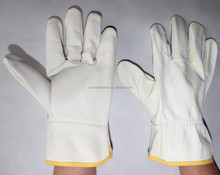 Winter white leather guantes cabritilla men driving gloves