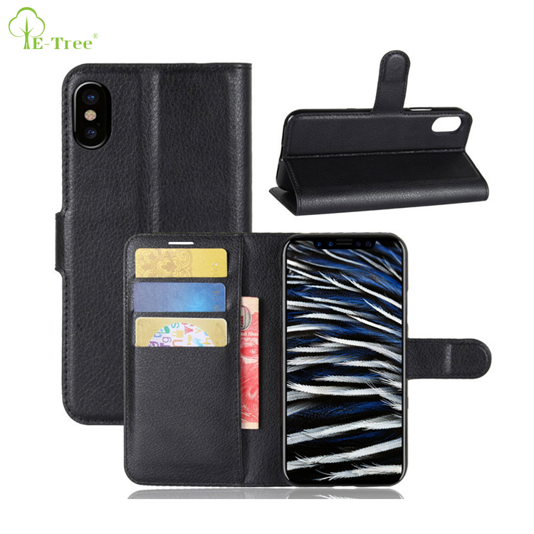 NEW Lichee Pattern flip leather wallet phone case for iPhone 8, folio leather skin cover for iPhone 8
