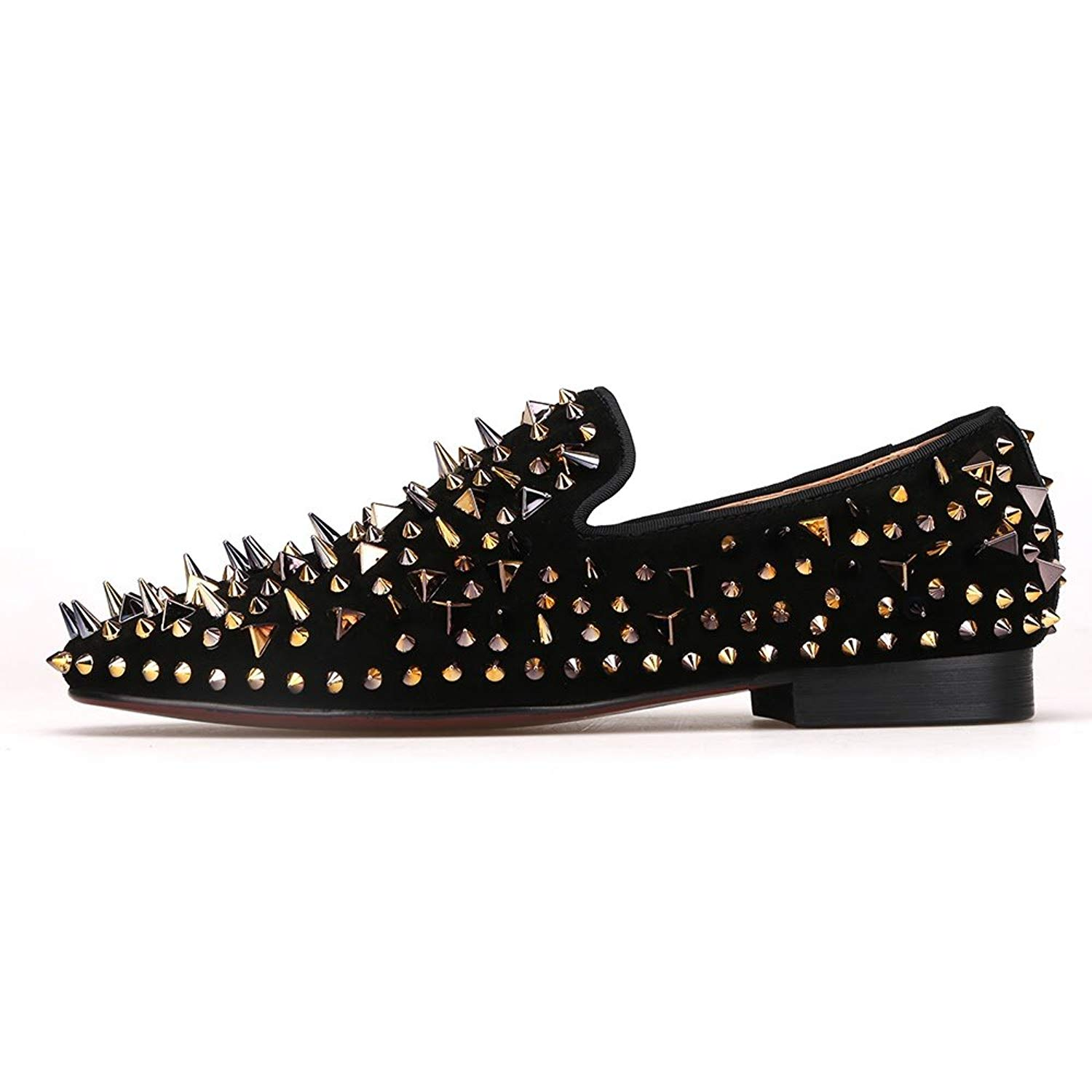 43e6e4b89f2d Get Quotations · Merlutti Black Loafers with Gold Rivet Suede Slip-on Rhinestone  Spiked Rivet Sparkly Shoes