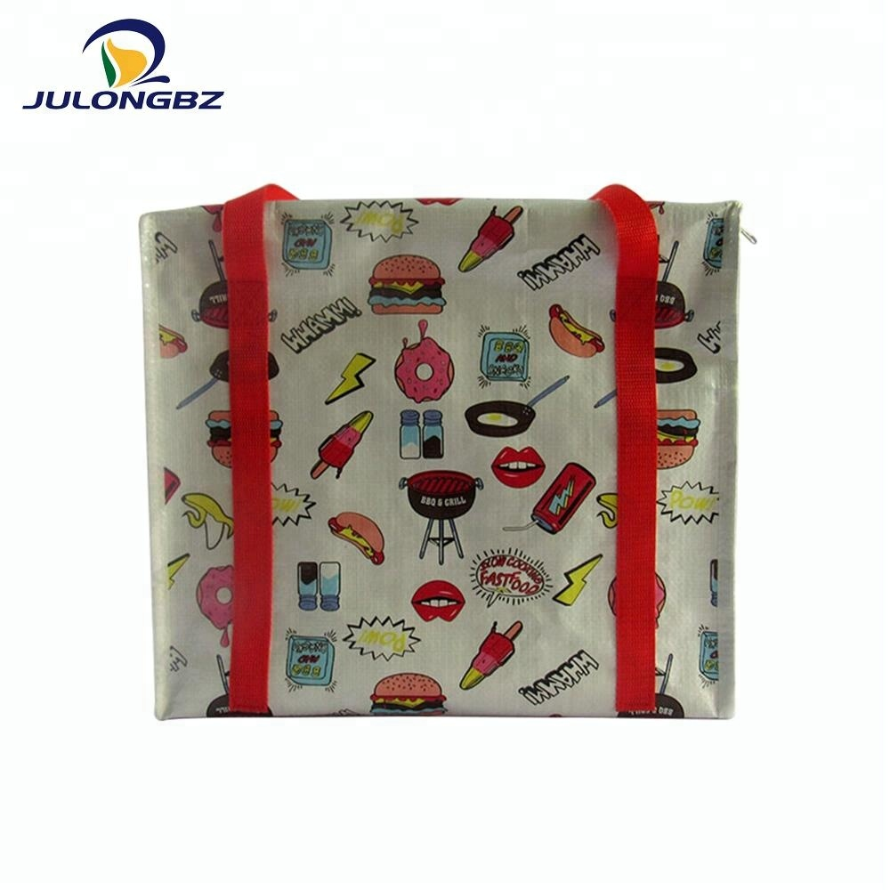 Promotional custom portable zipper woven cool lunch bag