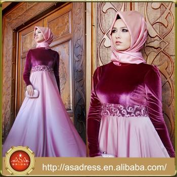 ATE08 Gros 2015 Étage Longueur Dames Manches Longues Maroc Musulmane Abaya  Caftan Robe de Soirée avec