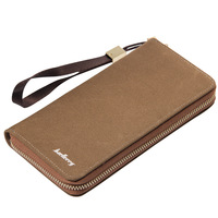 Wholesale baellerry men's vintage canvas zipper long wallet with strap