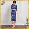 wholesale promotional print 3/4 sleeve pencil women midi casual dress