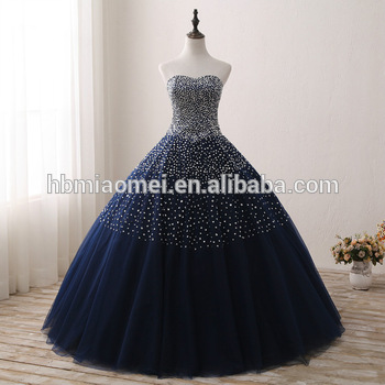 Blue Color Bridal Wedding Gown Sequins