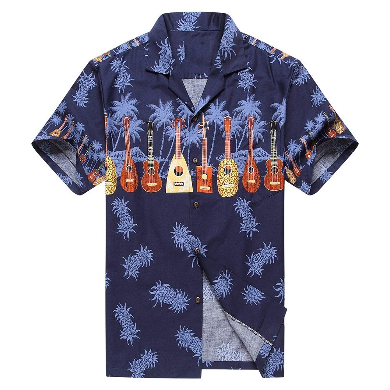 4544d19c Made in Hawaii Men's Hawaiian Shirt Aloha Shirt Cross Ukulele Music in Navy