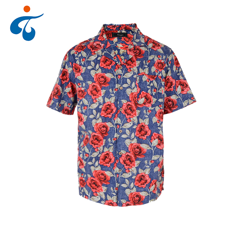 Best selling fashion comfortable colorful men casual rose flower bangkok hawaiian viscose shirt