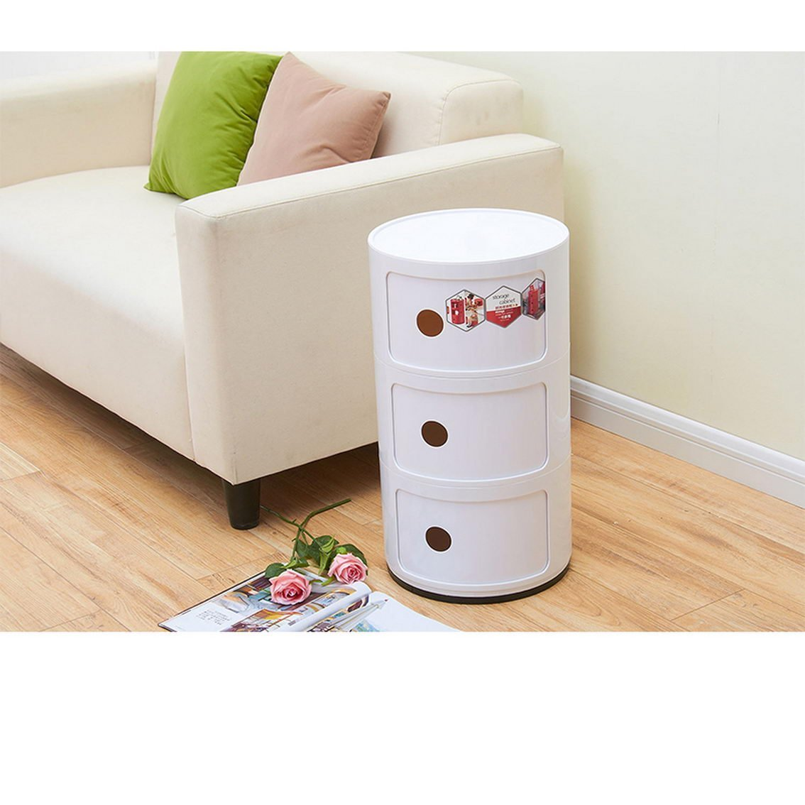 Jii2030shann Mini Bedside Cabinets Plastic Round Storage Cabinets Bedroom  Corners Cabinets Simple And Modern Multi