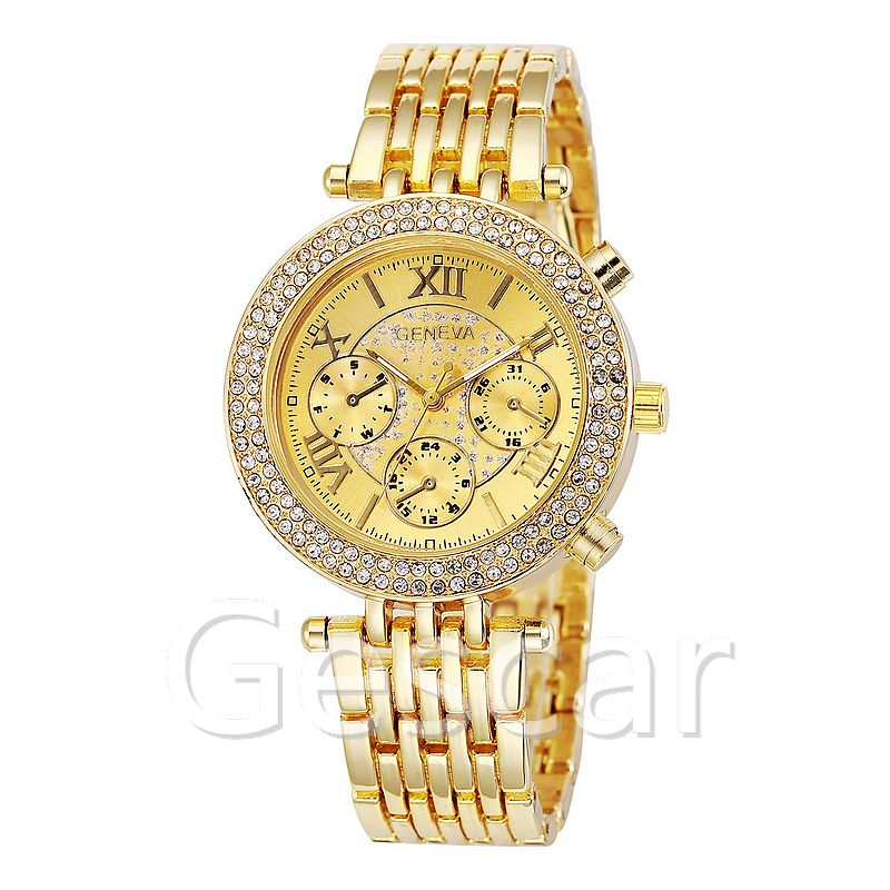 7842 new geneva alloy belt double row crystal lady steel wrap quartz casual watch
