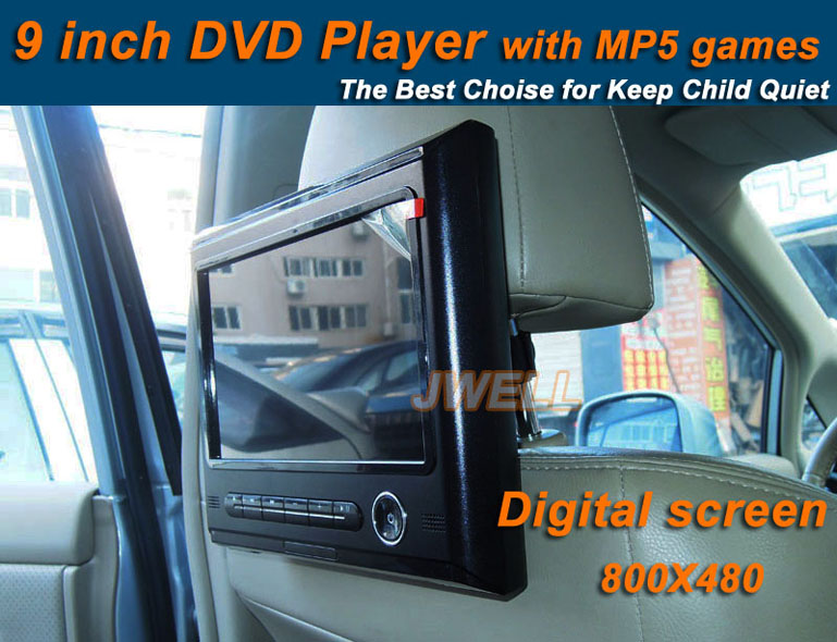 Fashion 9 inch Digital screen 800X480 Headrest Car DVD Player with MP5 and Game easy to install