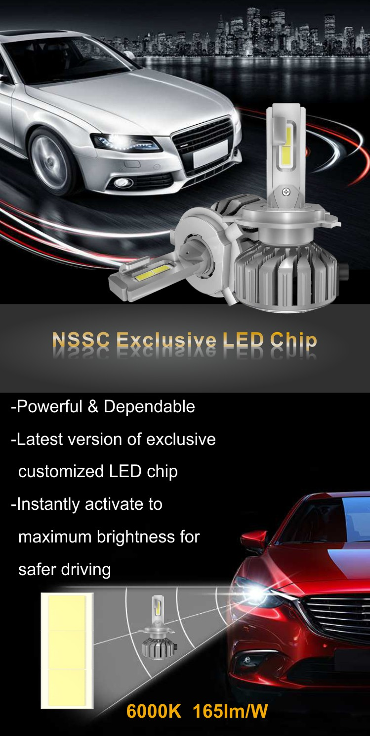 NSSC 8S Car LED Headlight Bulbs for Universal Vehicles Cars Trucks