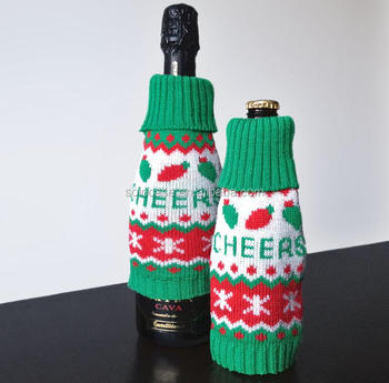 knit christmas sweater bottle cover for wine or beer
